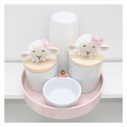 Ovelha - Menina - Kit Higiene - 5 peças - Bandeja Redonda
