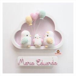 3 Passarinhos - 2 balões + 1 coração - Nuvem P Branca - Porta de Maternidade