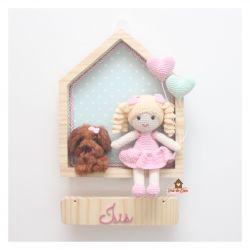 Boneca  com Cachorrinho - 2 Corações - Casinha - Porta Maternidade