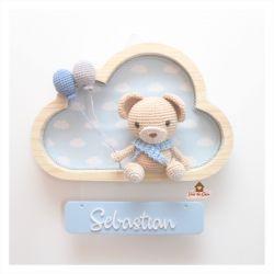Ursinho - Nuvem M - Placa Colorida - Porta Maternidade