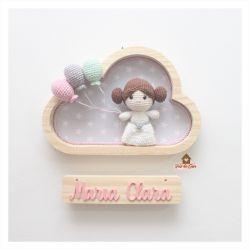 Princesa Leia - 3 balões - Nuvem P  - Porta Maternidade