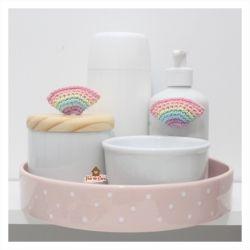 Arco-íris - Kit Higiene - 5 peças - Bandeja Redonda
