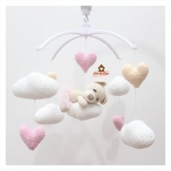 Móbile Ursinha dormindo  - Nuvens + Corações