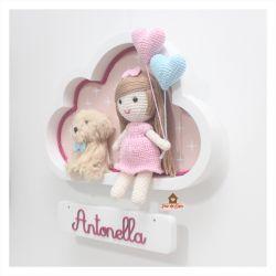Boneca Cabelo Liso - com Pet - 2 Corações - Nuvem M Branca - Porta Maternidade