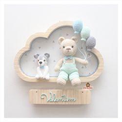 Urso com pet - 3 balões - Nuvem M - Porta Maternidade