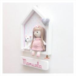 Boneca Cabelo Liso - com Pet - Casinha Branca - Porta Maternidade