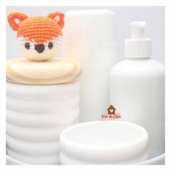 Raposinha - Kit Higiene Onda - 5 peças - Bandeja Redonda