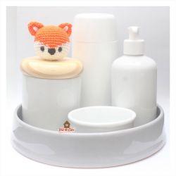 Raposinha - Kit Higiene - 5 peças - Bandeja Redonda
