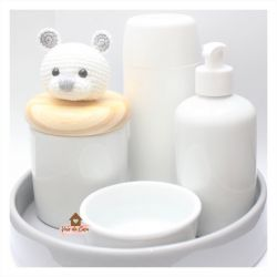 Urso - Kit Higiene - 5 peças - Bandeja Redonda