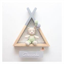 Urso - Cabana Grande  - Placa Cinza - Porta Maternidade