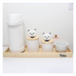 Kit Higiene - 5 peças - Ursinhos - Bandeja Madeira G