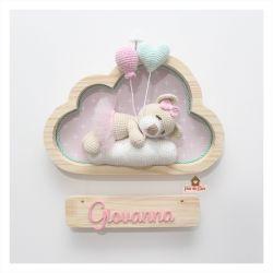 Ursinha Bailarina Dormindo - 1 Balão e 1 Coração - Nuvem P - Porta Maternidade
