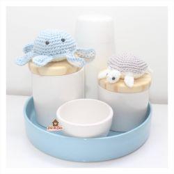 Fundo do Mar - Kit Higiene - 5 peças - Bandeja Redonda