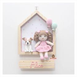 Boneca  com Cachorrinho - Casinha - Porta Maternidade