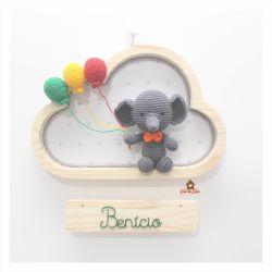 Elefante sem Gênero - 3 balões - Nuvem M - Porta Maternidade