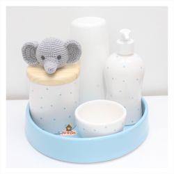 Elefantinho - Kit Higiene Poá - 5 peças - Bandeja Redonda