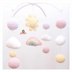Móbile Céu Candy Colors - Arco-íris + Sol + Nuvens