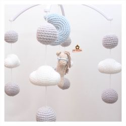 Móbile Cavalinho - Lua + Nuvens + Bolinhas