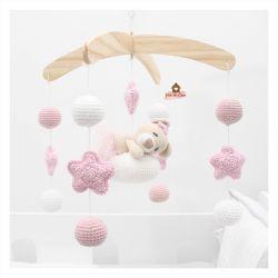 Móbile Ursinha dormindo  - Estrelas + Bolinhas