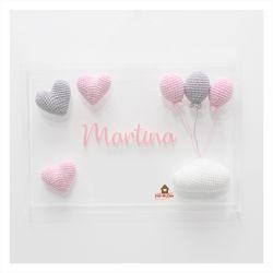 Nuvem + Corações  + Balões - Quadro Acrílico - Porta Maternidade