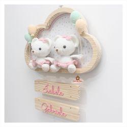 Ursinhas Gêmeas - 4 balões - Nuvem G - Porta Maternidade