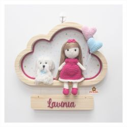 Boneca Cabelo liso - com Pet - 2 corações - Nuvem M - Porta Maternidade