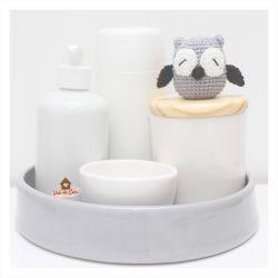Coruja - Kit Higiene - 5 peças - Bandeja Redonda