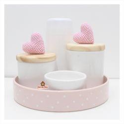Corações - Kit Higiene - 5 peças - Bandeja Redonda