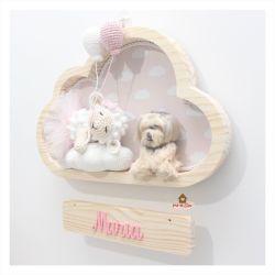 Ovelha Bailarina Dormindo - 2 balões + Com Pet - Nuvem M - Porta Maternidade