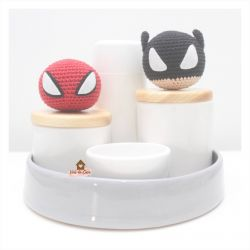 Heróis - Kit Higiene - 5 peças - Bandeja Redonda