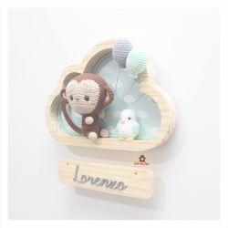 Macaco com Passarinho - Nuvem P - Porta Maternidade