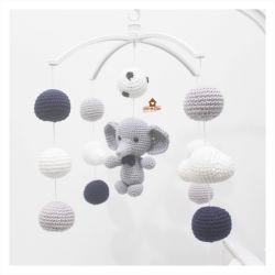 Móbile Elefantinho - Nuvens + Bolinhas