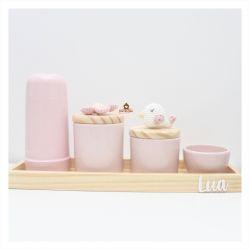 Flor + Passarinho - Kit Higiene - 5 peças - Bandeja Madeira