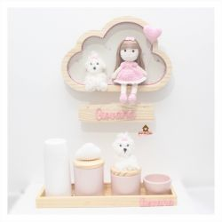 Kit - Enfeite Boneca + Pet + Kit Higiene Rosa 5 peças