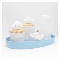 Kit Higiene Poá - Nuvens - 5 peças - Bandeja Oval - Garrafa Mini