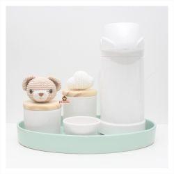 Kit Higiene - Ursinho + Nuvem - 5 peças - Bandeja Oval - Garrafa Grande