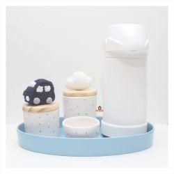 Kit Higiene - Carrinho + Nuvem - 5 peças Poá - Bandeja Oval - Garrafa Grande