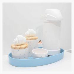 Kit Higiene Poá - Nuvens - 5 peças - Bandeja Oval