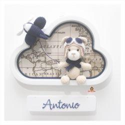Ursinho Aviador - Nuvem M Branca - Porta Maternidade