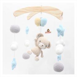 Móbile Urso com Balões - Nuvens + Bolinhas + Estrelas