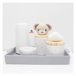 Urso + Nuvem - Kit Higiene Poá - 5 peças - Bandeja Retangular
