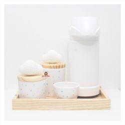 Nuvens - Kit Higiene Poá - 5 peças - Bandeja Madeira
