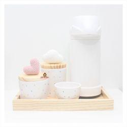 Nuvem + Coração - Kit Higiene Poá - 5 peças - Bandeja Madeira