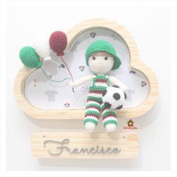 Menino - Futebol - Macacão Listrado - 3 balões - Nuvem P - Porta Maternidade