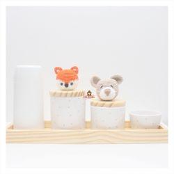 Raposa + Urso - Kit Higiene Poá - 5 peças - Bandeja Retangular Madeira